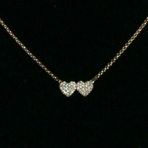 Kate Spade Truly Pave Double Heart Necklace 20""